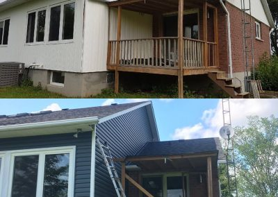 Before and After shots of Siding, Roof and Window Flashing Replacement